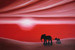 Red Mother & Baby Elephants